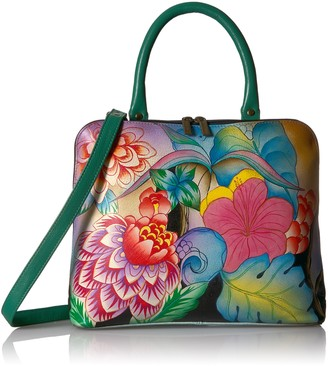 Anna by Anuschka Hand Painted Leather Slim Crossbody Satchel