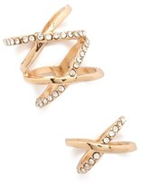 Forever 21 Rhinestone Crisscross Ring Set