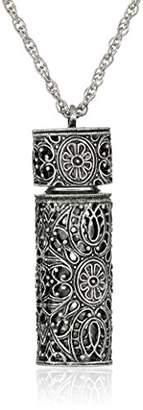 1928 Jewelry Womens Antiqued Filigree Covered 3.69 ml Glass Vial Pendant Enhancer