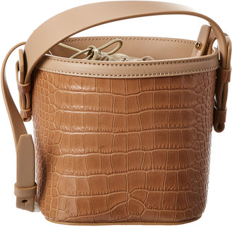 Nico Giani Adenia Mini Croc-Embossed Leather Bucket Bag