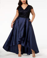 Adrianna Papell Plus Size Embellished High-Low Gown