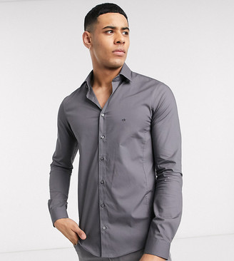 Calvin Klein skinny fit shirt easy iron charcoal exclusive at ASOS-Grey