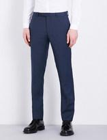 Sandro Birdseye pattern slim-fit wool trousers