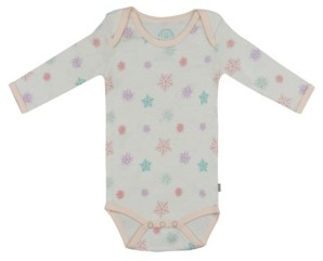 Pureheart Organics Baby Girls Snowflakes Long Sleeve Onesie