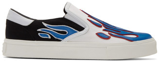 Amiri White and Blue Flame Slip-On Sneakers