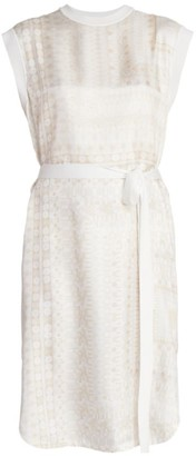 Chloé Belted Moasic Twill & Wool Midi Dress