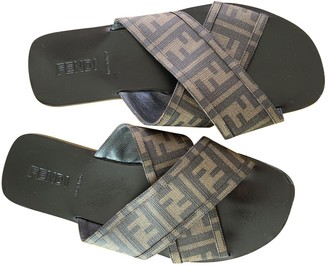 Fendi Brown Cloth Sandals