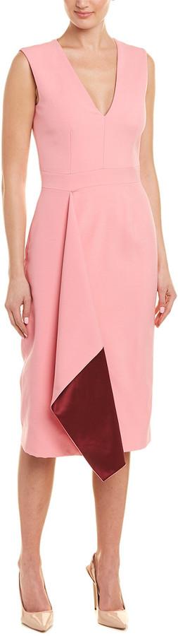 Thumbnail for your product : Alexander McQueen Drape Wool & Silk-Blend Sheath Dress