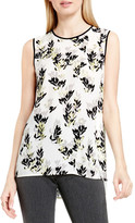 Vince Camuto &Leaf Trio& Chiffon Overlay Print Sleeveless Blouse