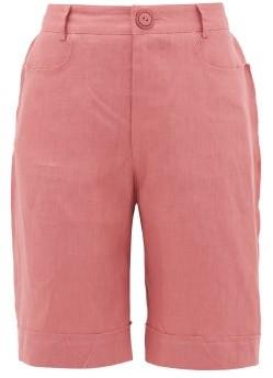ALBUS LUMEN Lumen High-rise Linen Straight-leg Shorts - Pink