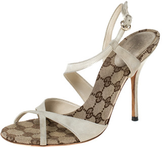 Gucci Off-White Suede And GG Canvas Cross Strap Slingback Sandals Size 37.5