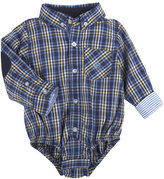 Andy & Evan Long-Sleeve Plaid Poplin ShirtzieTM, Navy, Size 3-24 Months