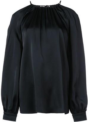 Rosetta Getty satin cold shoulder blouse