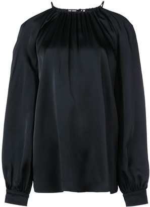 Rosetta Getty Satin Cold Shoulder Blouse
