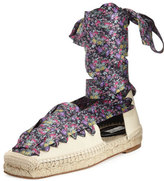 Balenciaga Floral-Print Lace-Up Espadrille, Beige/Black/Violet