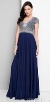 Terani Couture Crystalized V-neck Empire Evening Dress