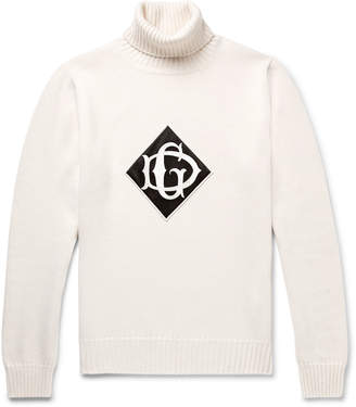 Dolce & Gabbana Logo-Appliqued Wool Rollneck Sweater