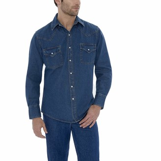 ELY CATTLEMAN Men's Long Sleeve Denim Western Shirt-Big 3X