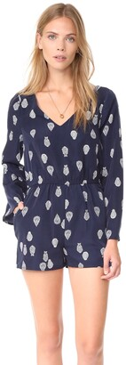 Cupcakes And Cashmere Women's Harley Paisley Pirnted Bell Sleeve Romper