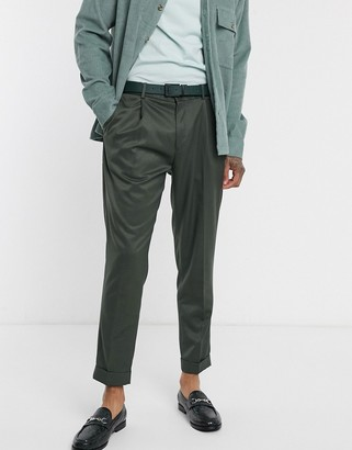 Topman skinny pleated smart pants in green