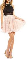 Jodi Kristopher Mock Neck Striped Skirt Fit-And-Flare Dress