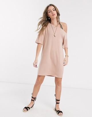 ASOS DESIGN off the shoulder t-shirt dress in beige
