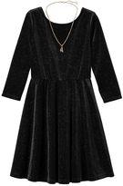 Girls 7-16 & Plus Size Lilt Glitter Velvet 3/4-Length Sleeve Skater Dress with Necklace