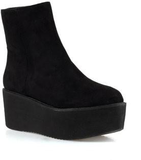Nature Breeze Hersey-02 Women's Side Zipper Ankle Platform Booties in Black