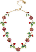 Betsey Johnson Gold-Tone Multi-Crystal Floral Collar Necklace