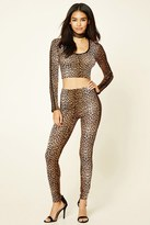 Forever 21 FOREVER 21+ Leopard Print Hooded Crop Top