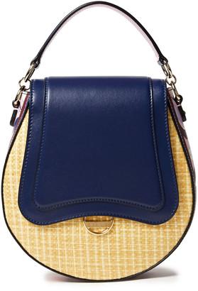 Emilio Pucci Paneled Printed Leather And Faux Raffia Shoulder Bag