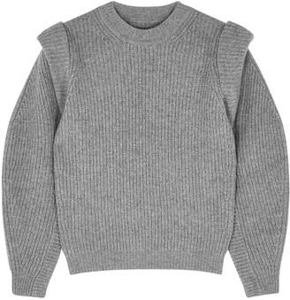 Isabel Marant Bolton Grey Melange Ribbed-knit Jumper