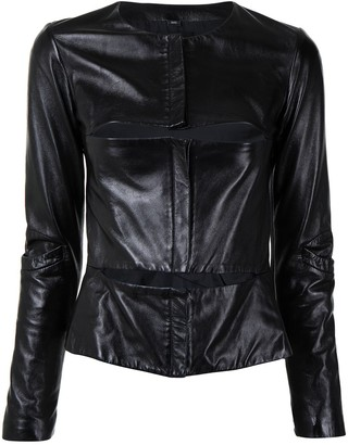 Helmut Lang Pre-Owned Cut-Out Leather Jacket