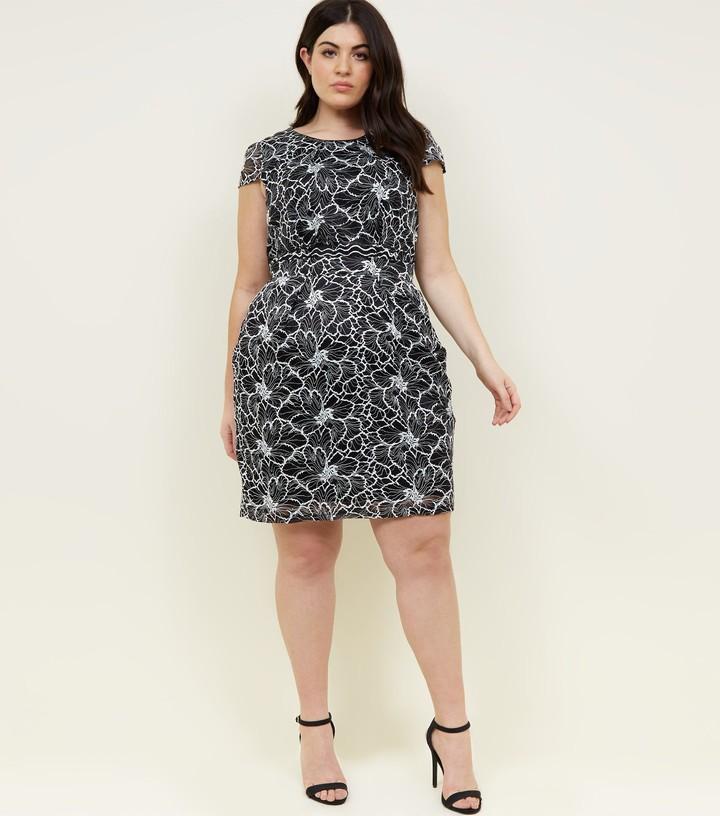 New Look Blue Vanilla Curves Lace Mini Dress