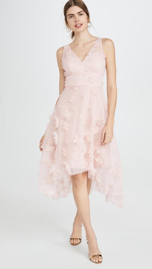 Marchesa Sleeveles Metallic Embroidered Cocktail Dress
