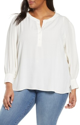 Habitual Split Neck Peasant Blouse