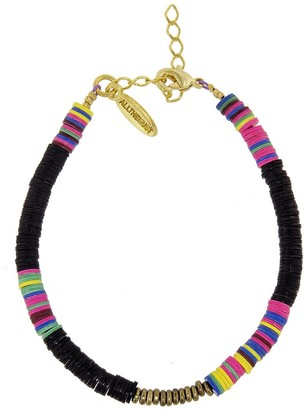 ALLTHEMUST Black Heishi Bead Yellow Gold Bracelet