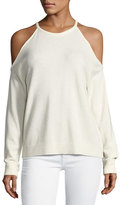 Theory Toleema B Cashmere Cold-Shoulder Sweater, White