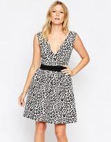Liquorish Leopard Print Skater Dress With Waistband