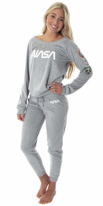Intimo NASA Worm Logo Women's Juniors' Space Shuttle Patches Shirt And Jogger Pants Pajama Set (MD)