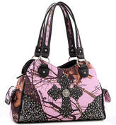 Dasein Black & Pink Embroidered Cross-Accent Satchel