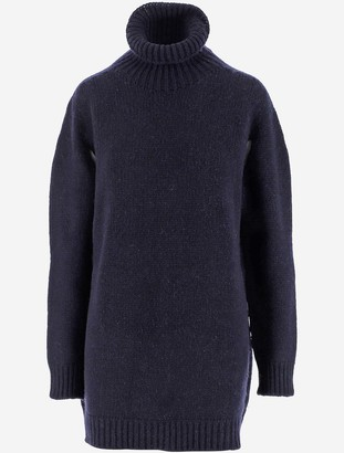 Lanvin Blue Cashmere Women's Turtleneck Long Sweater