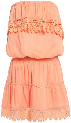 Melissa Odabash Joy Strapless Crochet-trimmed Voile Mini Dress