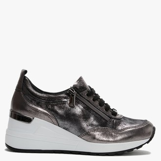 Moda In Pelle Bethina Pewter Metallic Leather Wedge Trainers