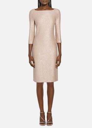 St. John Glimmering Sequined Knit Dress