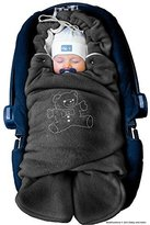 ByBoom? - Swaddling Wrap, Car Seat and Pram Blanket for Winter, Universal for infant and child car seats (e.g. Maxi-Cosi, Britax), for a pushchair/stroller, buggy or baby bed; THE ORIGINAL WITH THE BEAR, Color:Anthracite/Grey by ByBoom
