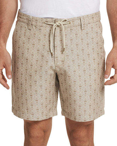 Robert Graham Men's Babson Skull-Print Twill Shorts