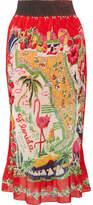 Anna Sui Florida Plissé Printed Silk Midi Skirt - Red