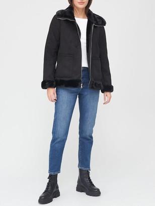 Lauren Ralph Lauren Faux Suede Shearling Jacket - Black