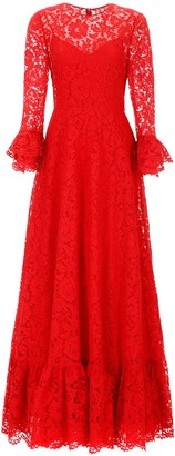 Valentino Heavy Lace Long Ruffle Sleeved Dress